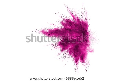 Photo of  Pink powder explosion on white background. Paint Holi.