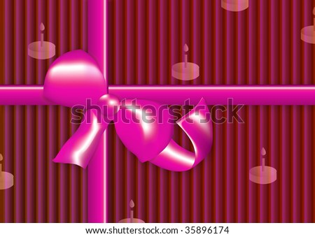 pink present with stripes, ribbon in pink, birthday cake imprint