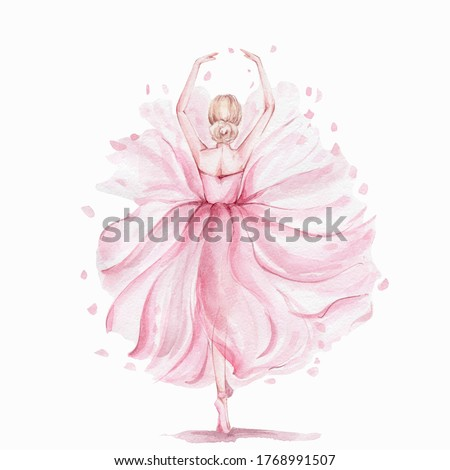 Pink pretty ballerina; watercolor hand draw illustration; can be used for cards or posters; with white isolated background Foto d'archivio ©