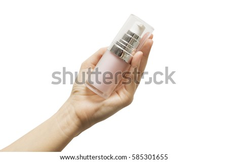 Shutterstock Pink primer for the face in his hand on a white background