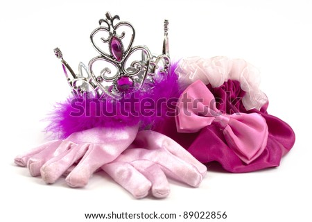 Pink princess accessories; crown, gloves and bag