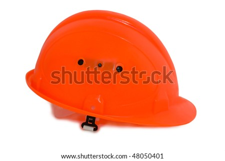 Pink protective helmet on a white background