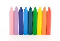 pink, purple, blue, cyan, green, yellow, red, orange pencils