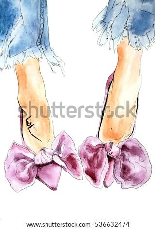 Pink purple velvet shoes with bow and heels, woman legs, blue jeans watercolor fashion illustration, sketch, wall art, art print, raster