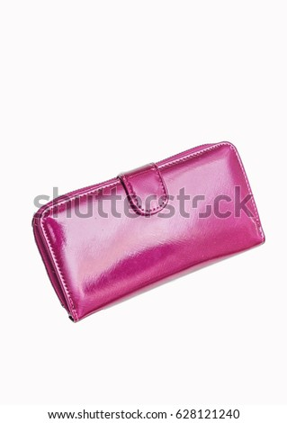 Pink purse. Glossy purse on a white background #628121240