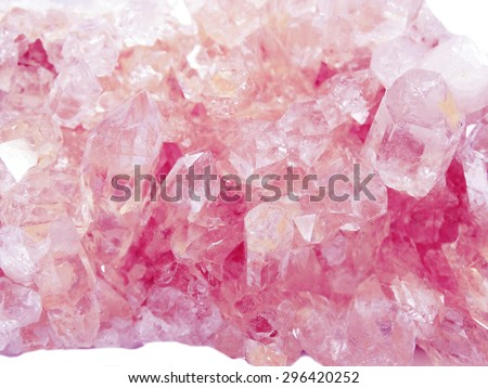 pink quartz semigem geode crystals geological mineral isolated