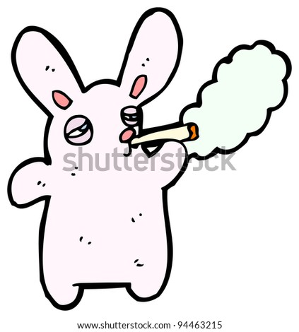 pink rabbit smoking cigarette cartoon