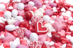 Pink, red, and white candies