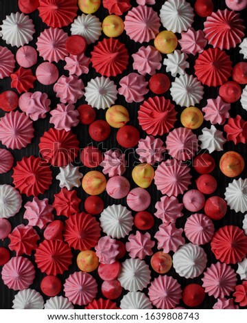 Pink, Red, yellow and White meringue kisses  Сток-фото ©