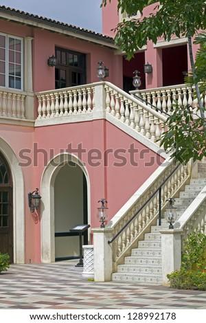 pink restaurant in a jamaican luxury resort