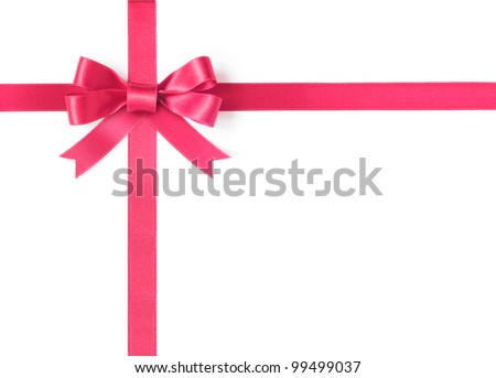 Pink ribbon bow on white background
