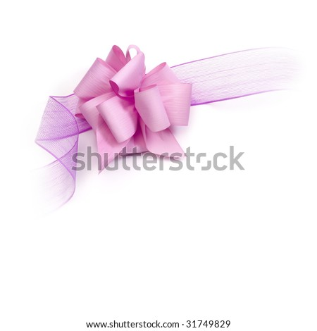 Pink ribbon extended on white background with space for text