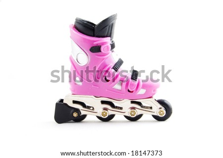 pink rollerscates isolated on a white background