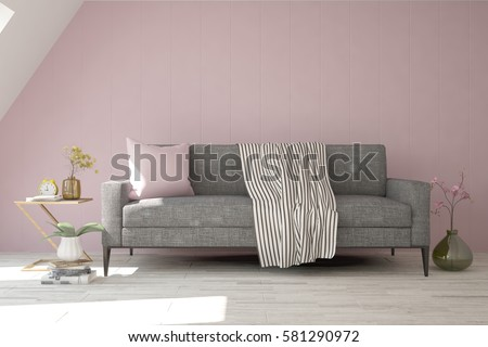 Pink room with sofa. Scandinavian interior design. 3D illustration #581290972