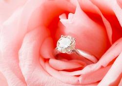Pink Rose and diamond ring nestled inside