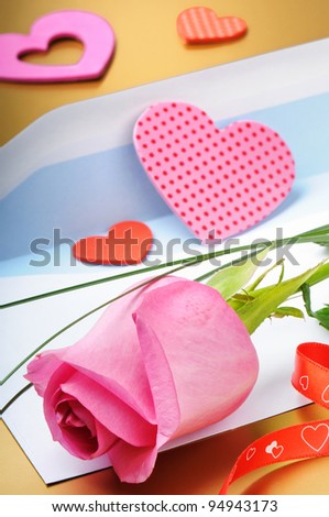 Pink rose and envelope in romantic set