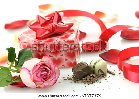 pink rose and gift for St.Valentine's Day