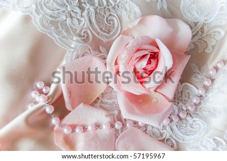 stock photo Pink rose background wedding dress