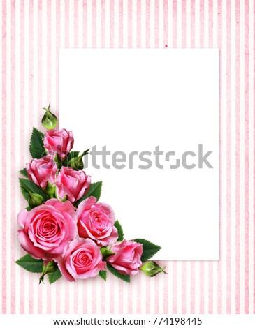 Pink Rose Flowers Corner Arrangement And A Card On Vintage Striped Background 774198445