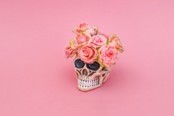 Pink rose flowers in decorative Skull Planter on pink background. Minimal romantic concept. Human Skull Head Design Flower Pot with beautiful Rose blossom. Halloween skull head with flowers
