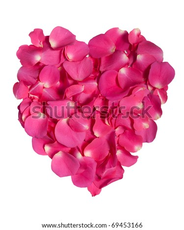 Pink rose petals as heart on white with clipping path