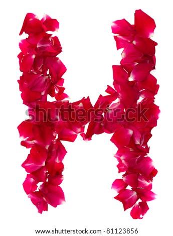 H Letter In Rose Pink Rose Petals Formi...