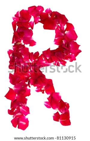 petals forming letter R  R Letter In Rose