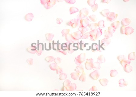 Pink rose petals pattern on white background. Flat lay, top view. Valentine's background. Pattern of flowers. #765418927