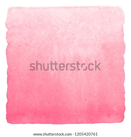 Pink, rose watercolor background with stains. Light red horizontal square gradient fill. Valentines, Women day watercolour texture. Hand drawn fill with rough, uneven edges. Soft, pastel color.