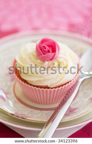 Pink rosebud cupcake