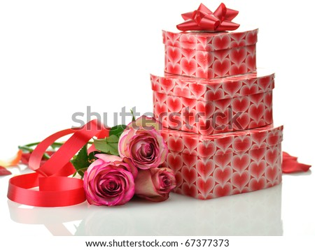 pink roses and gifts for St.Valentine's Day