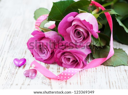 Pink Roses and hearts on a Pink Roses And Hearts