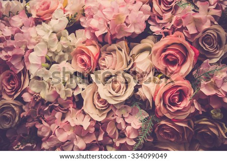 Pink roses background. Retro filter. - Shutterstock ID 334099049