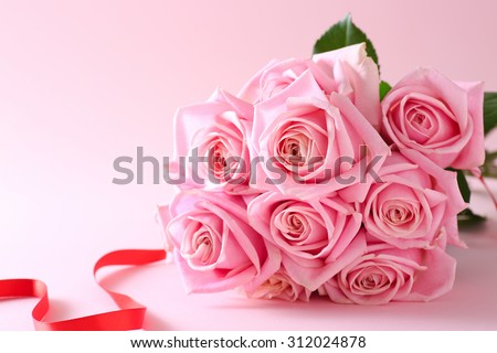 Pink roses bouquet #312024878