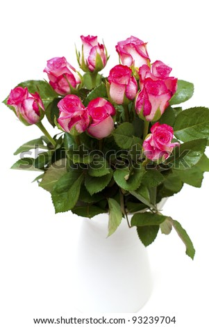 pink roses in a white vase isolated on white