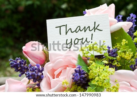 pink roses, lavender and card with lettering thank you/roses/thank you