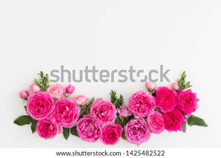 Pink roses on a white background. #1425482522