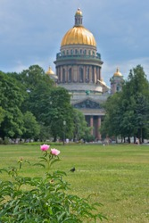 Pink roses with a blurred Issakievsky Cathedral in the background.
