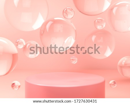 Pink round stage, pedestal or podium and water and glass bubbles or spheres in pink studio. 3D render. Background or mockup for cosmetics or fashion. Use for product identity, branding and presenting