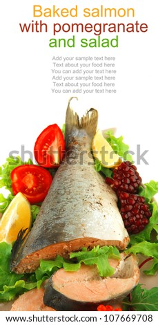 pink salmon and vegetables served on plate