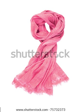Pink scarf isolated on white background