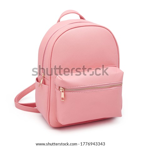 Pink School Backpack Isolated on White. Travel Daypack with Zippered Compartment. Women Mini Leather Satchel Rucksack. Girl Casual Canvas Backpack. Bag Front View with Shoulder Straps Сток-фото ©