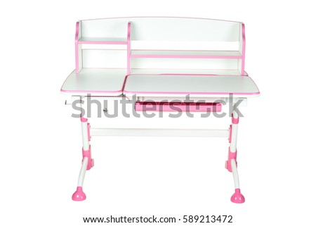 Pink school desk is isolated on a white background #589213472