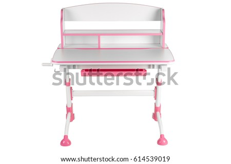 Pink school desk is isolated on a white background #614539019