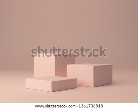 Pink shapes on pastel colors abstract background. Minimal boxes, tree podium. Scene with geometrical forms. Empty showcase for cosmetic product presentation. Fashion magazine. 3d render.