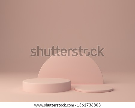 Pink shapes on pastel colors abstract background. Minimal cylinder podium. Scene with geometrical forms. Empty showcase for cosmetic product presentation. Fashion magazine. 3d render.