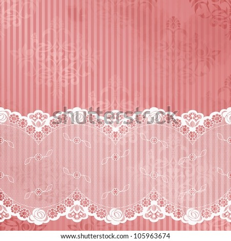 Pink shiny background with off-white lace (jpg); EPS10 version also available