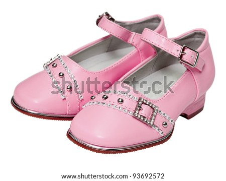 Pink shoes for girls isolated on white background