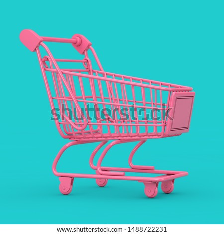 Pink Shopping Cart Trolley Mock Up Duotone on a blue background. 3d Rendering