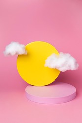 Pink showcase podium on pink color background. Product showcase with geometric shape and clouds. Trendy minimal abstract concept.